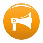 Single Megaphone Icon. Simple Illustration Of Single Megaphone Icon For Any Design Orange poster