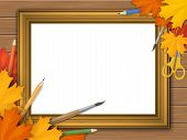 Golden Vintage Picture Frame With Autumn Leaves And Art Supplies On Wooden Background. With Place Fo poster