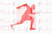 Red Human Electrocardiogram In Runner Shape On White Graph Paper, Healthy Life Concept Illustration poster