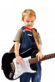 picture of stratocaster  - Little boy with electric guitar on white background - JPG
