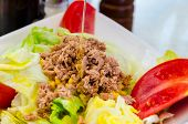 Tuna Salad Dressing With Spanish Extra Virgin Olive Oil. Tomatoes, Lettuce, Tuna And Corn Are Ingred poster