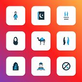 Religion Icons Colored Set With Dua, No Alcohol, Islam Book And Other Forbidden Elements. Isolated   poster