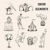 Vector Hand Drawn Circus Elements Set. Collection Of Acrobat, Elephant, Popcorn, Baloons, Cilinder H poster