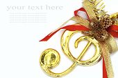 image of christmas song  - Christmas with musical signs and color ribbon on white background - JPG