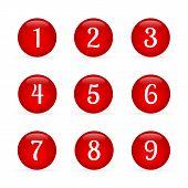 Set Of Glossy Round Buttons With Numbers From 1 To 9. Red Glass  Buttons Isolated On White. Numbered poster