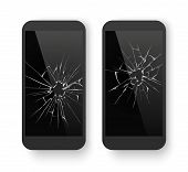 Broken Mobile Phone. Cracked Smartphone Screen. Smashed Damaged Cell Phone. Repair Vector Concept poster