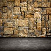 Постер, плакат: интерьер с каменной стеной