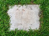 Square Gray Cement Background. Block Of Cement On Grass. Space For Text. poster