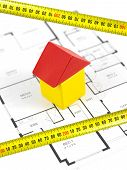 image of tape-measure  - House plans isolated against a white background - JPG