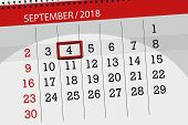 Calendar Planner For The Month, Deadline Day Of The Week 2018 September, 4, Tuesday poster
