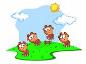 picture of counting sheep  - Three Cute cartoon the sheep jump through fence - JPG