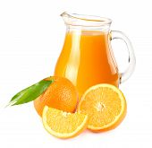Orange Juice With Orange And Green Leaf Isolated On White Background. Juice In Jug poster