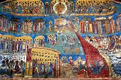 "picture of suceava  - ""the judgment day"" fresco on western wall of 15th century Voronet monastery; Suceava county; Moldova; Bucovina; Romania - JPG"