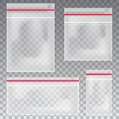 Empty Transparent Plastic Pocket Bags. Blank Vacuum Zipper Bag. Polythene Container Set On The Trans poster