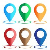 Gps Navigation Application. Set Map Colors Icon On White Background. Map Color Sign. Map Point. Flat poster