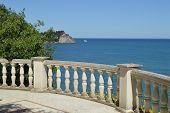 Beautiful Seascape, View From White Stone Balustrade On Sunny Summer Day poster