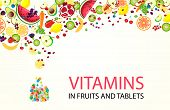 Vector Fruits And Berries Fall Into A Jar With Vitamins In Tablets And Capsules. Vector Berries And  poster