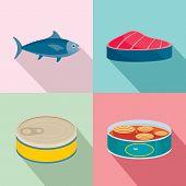 Tuna Fish Can Steak Icons Set. Flat Illustration Of 4 Tuna Fish Can Steak Icons For Web poster