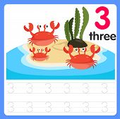 Illustration For Education Worksheet Writing Practice Number Three poster