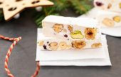 Turron Or Nougat Sweets.winter Holidays Sweets.traditional Italian Sweets. Copy Space. poster