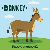 Cute Donkey Farm Animal Character, Farm Animals, Vector Illustration On Field Background. Cartoon St poster