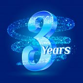 3 Years Shine Anniversary 3d Logo Celebration With Glittering Spiral Star Dust Trail Sparkling Parti poster