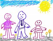 Little Girl'S Happy Family Drawing