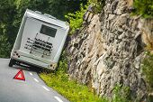 Rv Camper Van Accident On The Winding Mountain Road. poster