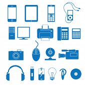 stock photo of flesh  - Vector illustration of the icons of the electronics - JPG
