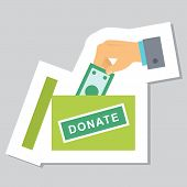 Donate Button With Hand, Box And Dollar Sign. Help Red Green Sticker. Gift Charity. Isolated Support poster
