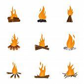 Bonfire Icons Set. Cartoon Set Of 9 Bonfire Icons For Web Isolated On White Background poster