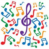 Colored Musical Notes. Vector Illustration. Background Of Musical Notes. Musical Notes And Treble Cl poster