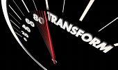 Transform Change Evolve Innovate Speedometer Word 3d Illustration poster