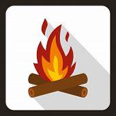 Burning Bonfire Icon. Flat Illustration Of Burning Bonfire Icon For Web poster