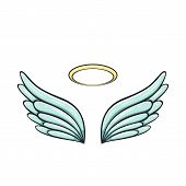 Angel Wings And Halo Isolated On White Background, Illustration. poster