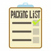 Clipboard With Packing List Icon. Cartoon Illustration Of Packing List Icon For Web poster