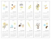Set of twelve decorative monthly calendars for 2012 year