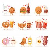Food Kawaii Vector Cartoon Expression Characters Of Fastfood Hamburger Loving Doughnut Emoticon Illu poster