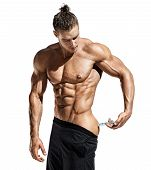 Bodybuilder Makes Injection Of Vitamins. Photo Of Sporty Man With Perfect Physique On White Backgrou poster