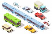 Isometric City Public Transport. Subway Train, Bus, Ambulance, Taxi And Police Car, Truck, Motorcycl poster