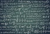 Black Board With Scientific Formula. Algebra, Mathematics And Physics Functions On Chalkboard. Schoo poster