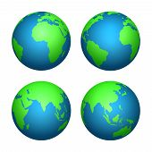 Earth 3d Globe. World Map With Green Continents And Blue Oceans. Vector Isolated Set Of Earth Planet poster