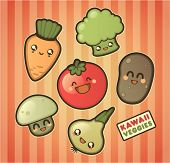 image of kawaii  - Kawaii smiling vegetables - JPG