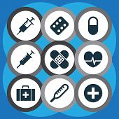 Drug Icons Set With Medicament, Pulse, Stings And Other Rhythm Elements. Isolated  Illustration Drug poster