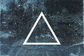 White Flat Triangle On Abstract Stone Background. Abstract Psychedelic Background. poster