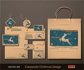 Corporate Christmas Design. Reindeer theme. Two colors different material for printing  the old fash