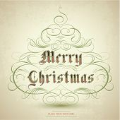 Stylized Christmas tree with  flourish ornaments and text Merry Christmas. Vector Illustration.