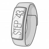 Fitness Smart Bracelet Icon. Gray Monochrome Illustration Of Fitness Smart Bracelet Icon For Web poster