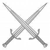 Two Crossed Swords Icon. Gray Monochrome Illustration Of Two Crossed Swords Icon For Web poster