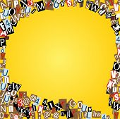 picture of alphabet letters  - Vector talk bubble of letters from newspaper and magazines on yellow - JPG